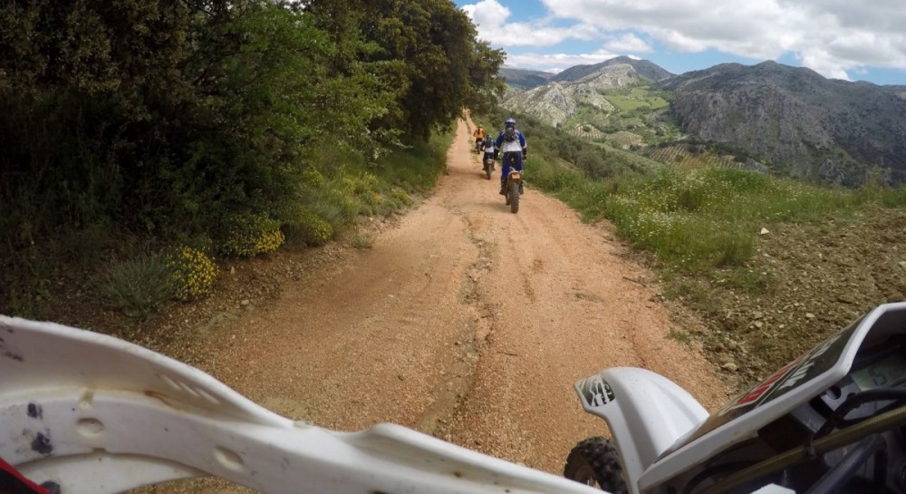 Off-road motorcycle vacation, riding enduro trail bikes through Periana in Spain